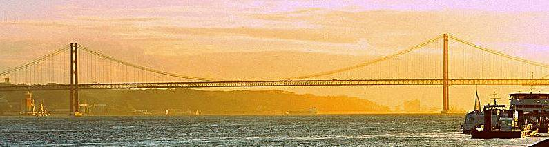 Sunset over Lisbon's iconic 25 de Abril Bridge