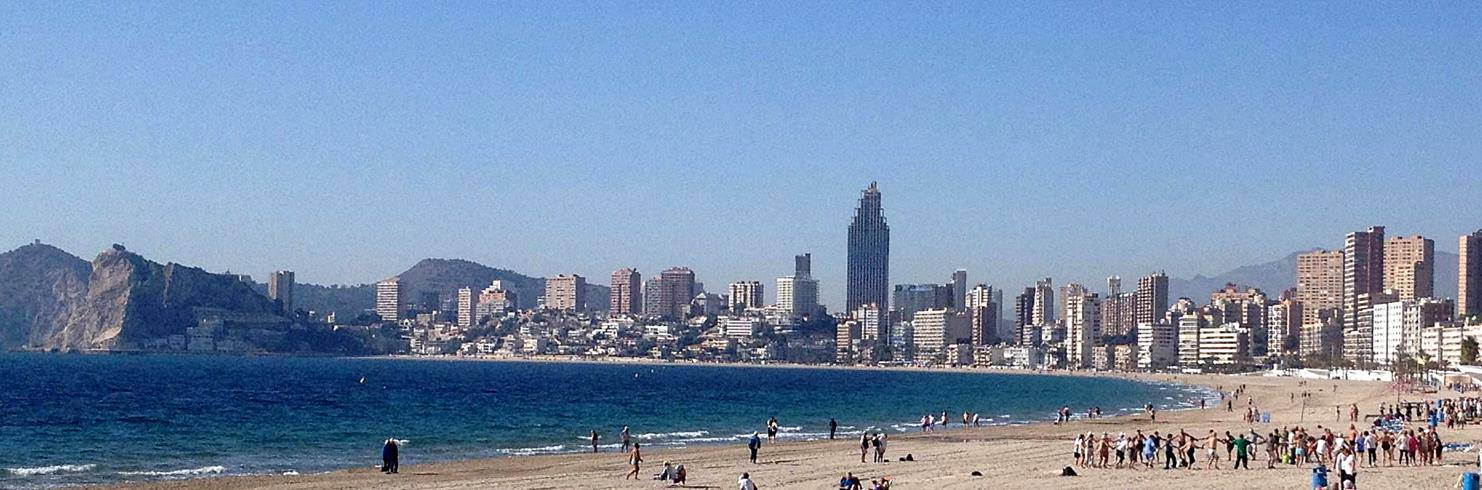 Benidorm beach with skyscrapers in the background