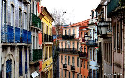 Attractive coloured houses in Lisbon