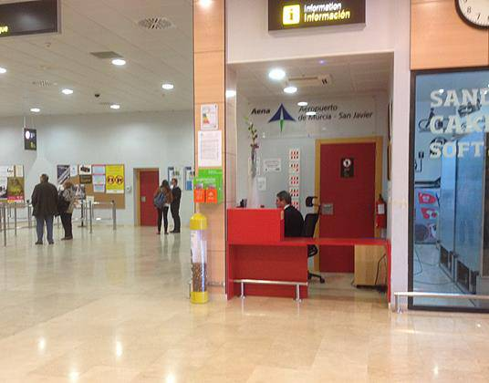 Murcia airport information desk located in the main hall