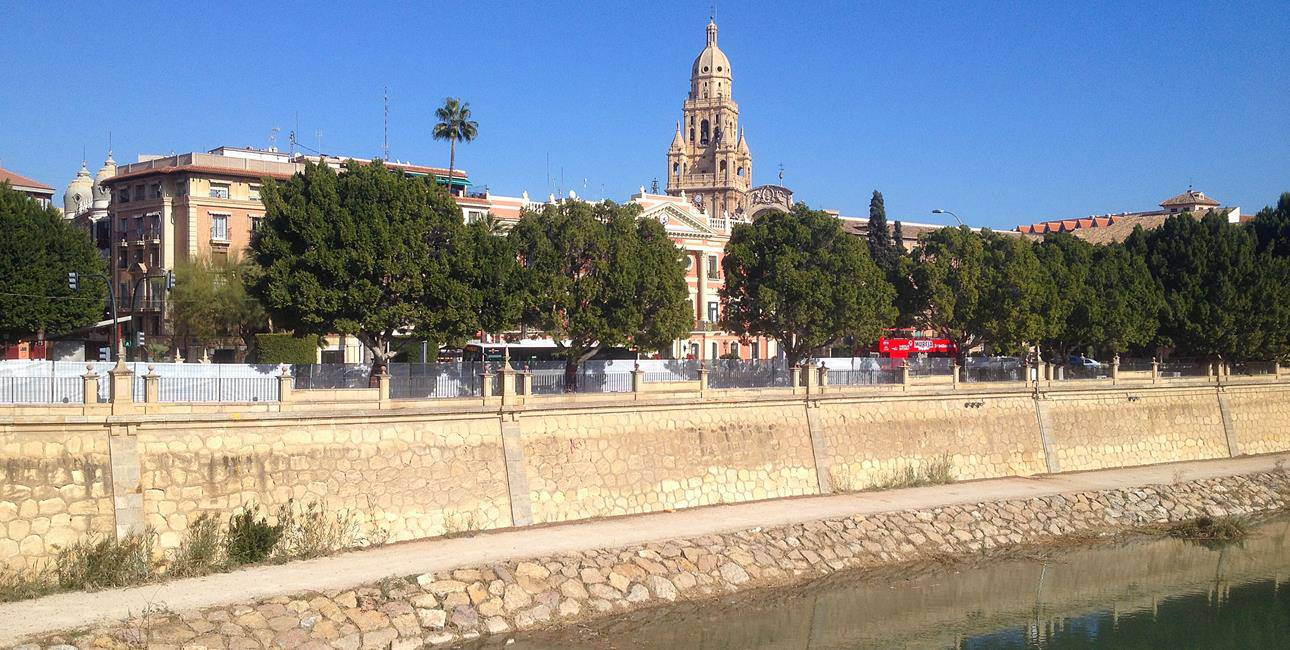 View of Murcia Cathedral taken from the Rio Segura