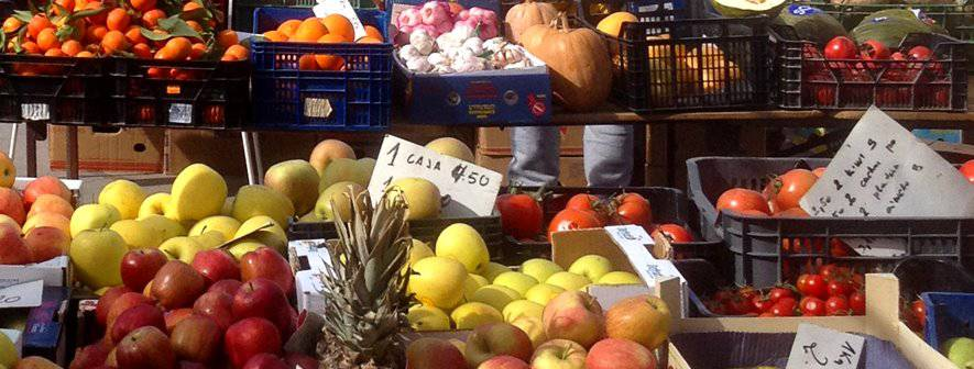 Fruit and vegetables at a market stall in Competa, Spain