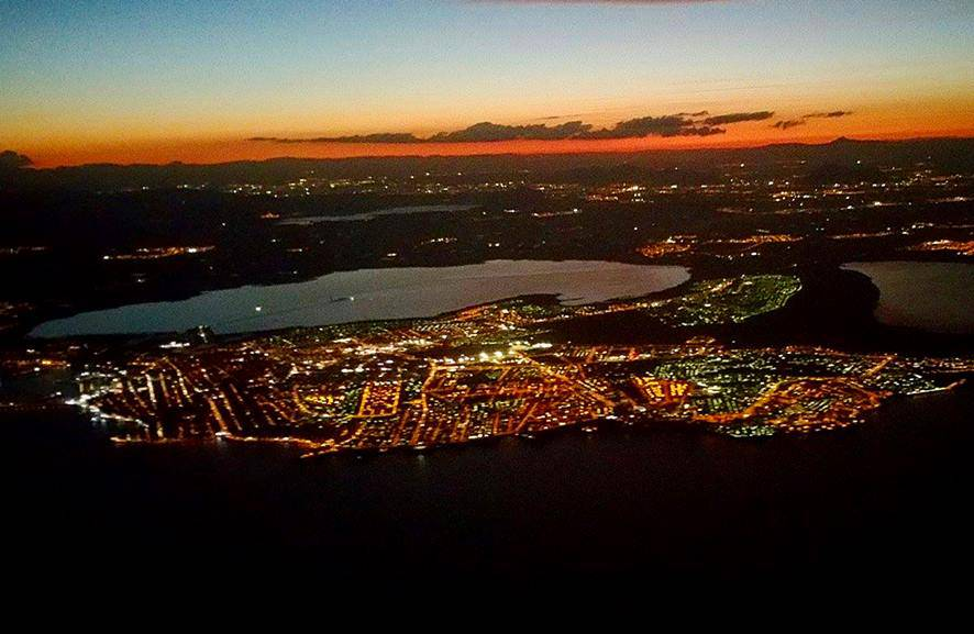 Torrevieja from the air at night